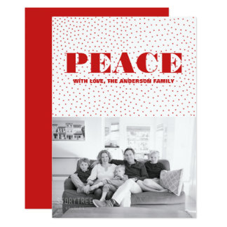 Starred Peace Holiday Photo Card | Red