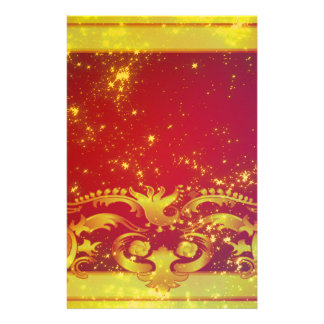 Starry Art Deco Red Yellow Stationery