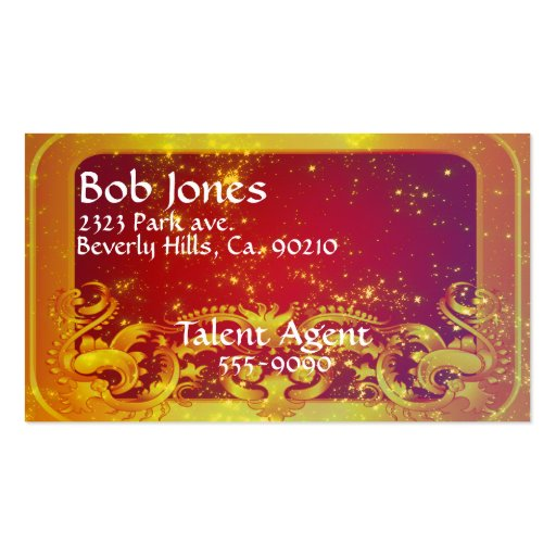 Starry Art Deco Yellow Red Business Card