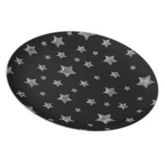 Starry Black and Silver Plate