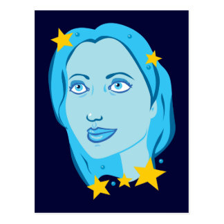 Starry Blue Girl Postcard