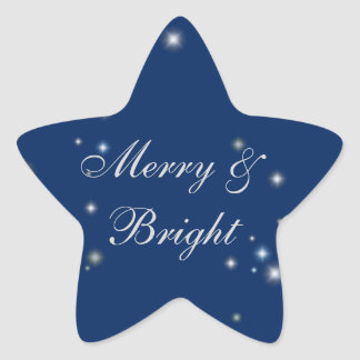 Starry blue merry and bright Christmas Sticker