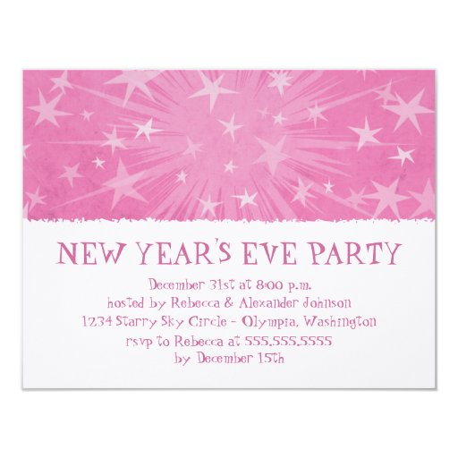 Starry Burst New Year's Eve Party Invitation /pink