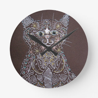 Starry Cat - Pen and Ink Round Wall Clock