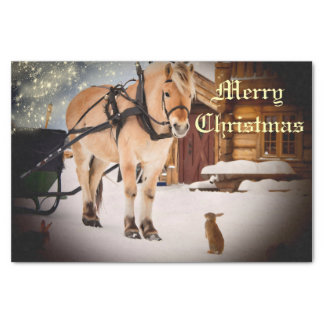 """Starry Christmas night at the farm with horse 10"""" X 15"""" Tissue Paper"""