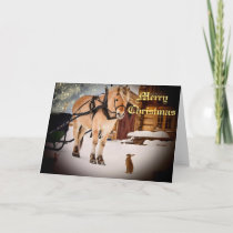 Starry Christmas night at the farm with horse Holiday Card