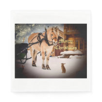 Starry Christmas night at the farm with horse Napkin