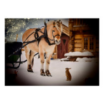 Starry Christmas night at the farm with horse Poster