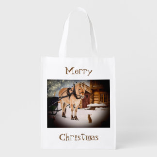 Starry Christmas night at the farm with horse Reusable Grocery Bag