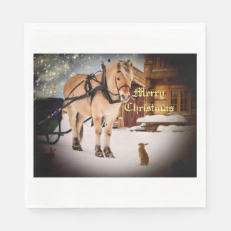 Starry Christmas night at the farm with horse Standard Luncheon Napkin