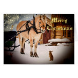 Starry Christmas night at the farm with horse Stationery Note Card