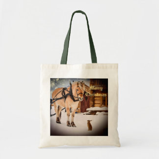 Starry Christmas night at the farm with horse Tote Bag