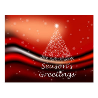 Starry Christmas Tree on Red Postcard