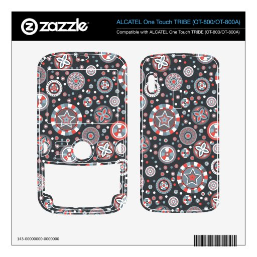 Starry Circles pattern -Grey and Red colors- ALCATEL Tribe Skins