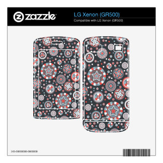 starry Circles pattern -Grey and Red colors- LG Xenon Decals