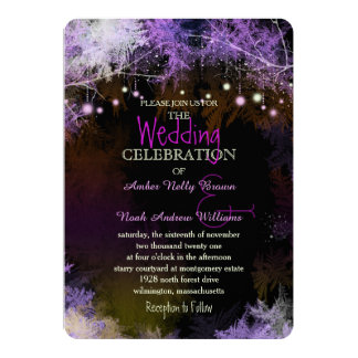 Starry Evening Forest Purple Wedding Card
