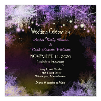 Starry Evening Forest Purple Wedding Invitation