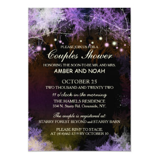 Starry Evening Forest Wedding Couples Shower 5x7 Paper Invitation Card