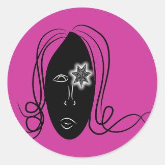 Starry Eyed Girl Classic Round Sticker