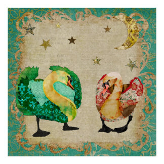 Starry Eyed Swans Art Poster