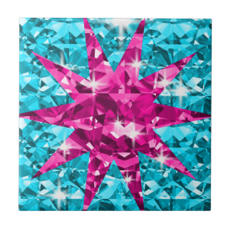 Starry Eyed Turquoise And Pink Diamonds Tile