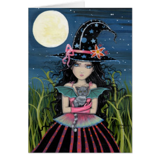 Starry Eyed Witch and Cat Card