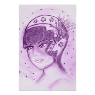 Starry Flapper in Purple Poster