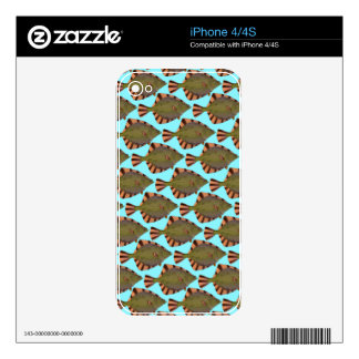 Starry Flounder Pattern in blue Skin For iPhone 4