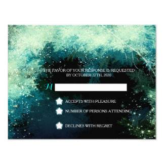 Starry Forest Icy Winter Wedding RSVP (4.25x5.5) 4.25x5.5 Paper Invitation Card