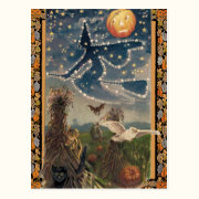 Starry Halloween Night Postcard