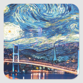 Starry Istanbul Square Sticker