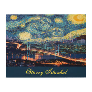 Starry Istanbul Wood Canvas Print