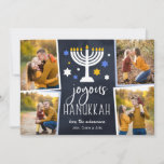 "Starry Lights | Hanukkah Photo Collage Card<br><div class=""desc"">Festive Hanukkah photo card features four photos in a collage layout,  with ""joyous Hanukkah"" in white lettering on a navy blue background accented with a lit menorah and white,  blue and gold stars. Personalize with your names beneath,  and add an additional photo to the back.</div>"