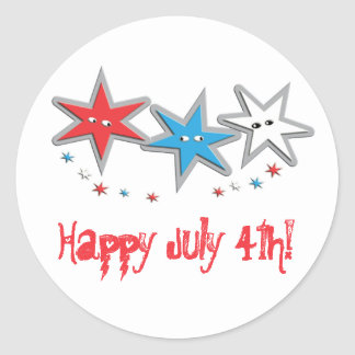 Starry Looks 4th of July - A Patriotic Trio Classic Round Sticker