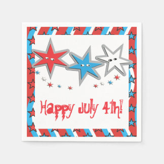 Starry Looks 4th of July Paper Napkins - Patriotic Disposable Napkins