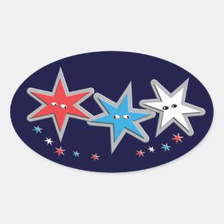 Starry Looks - A Patriotic Trio Oval Sticker