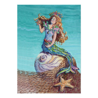 STARRY MERMAID by SHARON SHARPE Poster