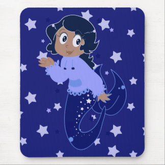 Starry Mermaid Girl Mouse Pad