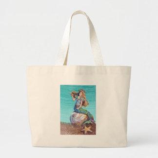 STARRY MERMAID & SHELLS by SHARON SHARPE Large Tote Bag