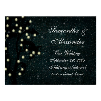 Starry Midnight Lights String Lantern Wedding Poster