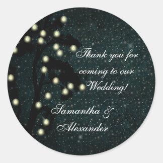 Starry Midnight Lights Wedding Thank You Favor Round Stickers