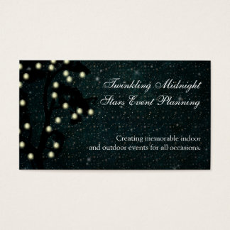Starry Midnight String of Lights Event Planning Business Card