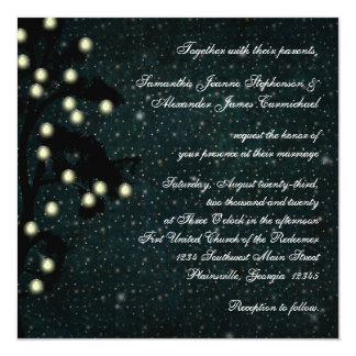 """Starry Midnight String of Lights Square Wedding 5.25"""" Square Invitation Card"""