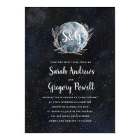Starry Moonlit Night Monogram Wedding Invitation