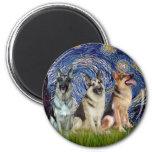 Starry Night - 3 German Shepherds Fridge Magnet