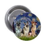 Starry Night - 3 German Shepherds Pins
