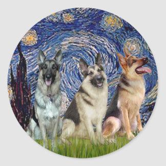 Starry Night - 3 German Shepherds Round Sticker
