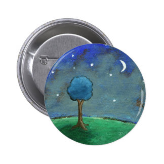 Starry Night, Abstract Landscape Tree Stars Moon 2 Inch Round Button