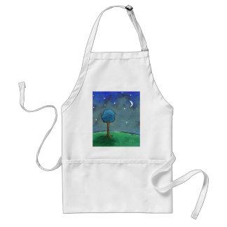 Starry Night, Abstract Landscape Tree Stars Moon Adult Apron