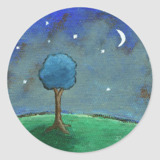 Starry Night, Abstract Landscape Tree Stars Moon Classic Round Sticker